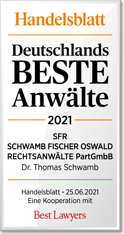 """Auszeichnung """"Deutschlands BESTE Anwälte 2021 SRF Schwamb Fischer Oswald Rechtsanwälte PartGmbB Dr. Thomas Schwamb Handelsbaltt 25.06.2021"""